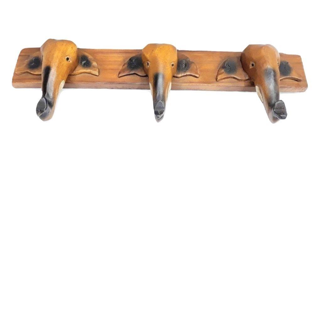 Cabideiro de Elefantes Entalhado 50cm