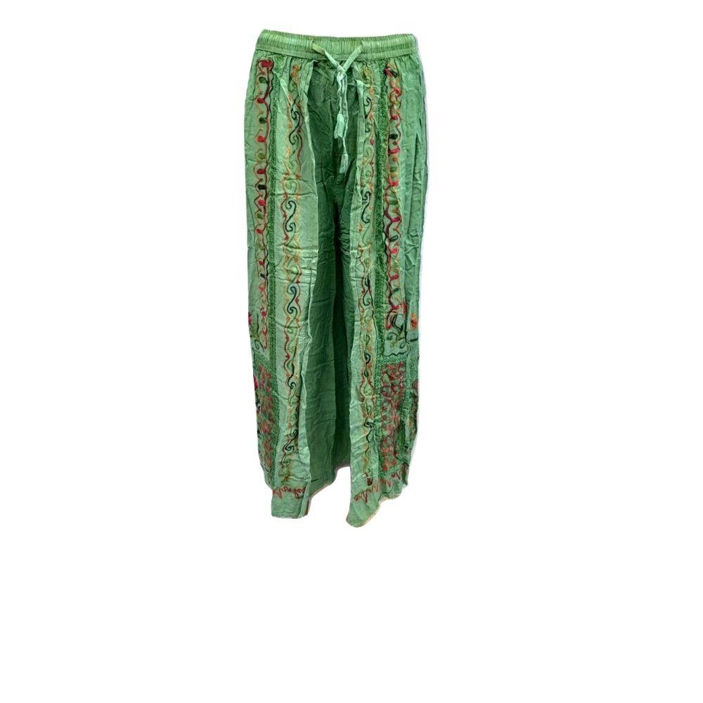 Calça Indiana Bordada Verde