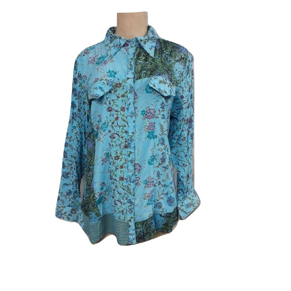Camisa Indiana de Crepe Estampado