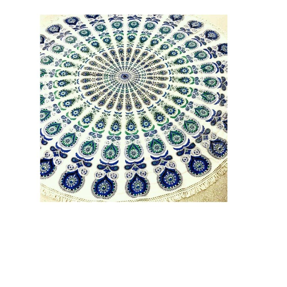 Canga Redonda Indiana de Mandala Azul e Verde