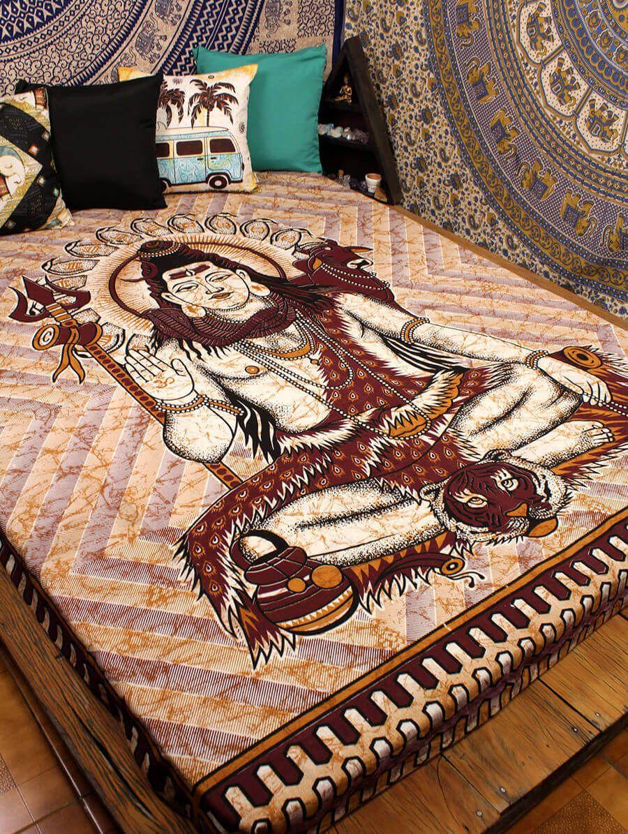 Colcha Estampada Indiana De Cama Casal Shiva