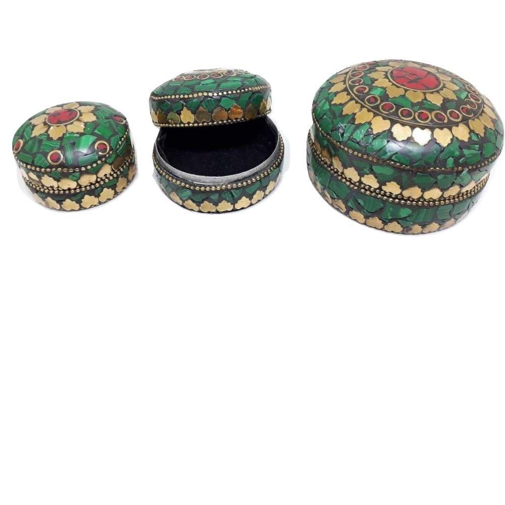 Conjunto de Caixinhas Indianas de Mosaico Redonda  Verde