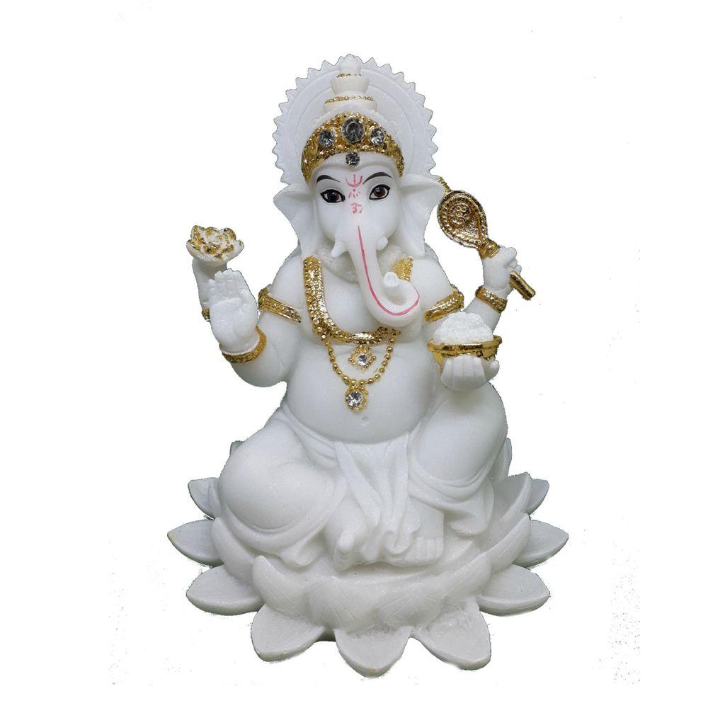 Deus Ganesha De Resina Branca- Deus Da Prosperidade