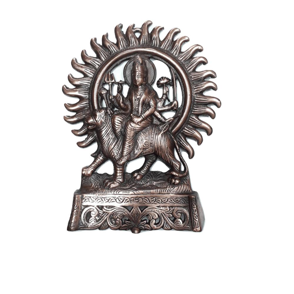 Deusa Durga de Cobre 30 Cm