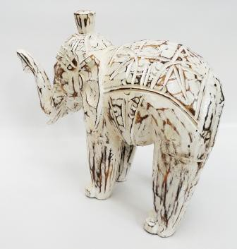 Elefante Tradicional Indiano Entalhado Madeira 20 x 25 Cm