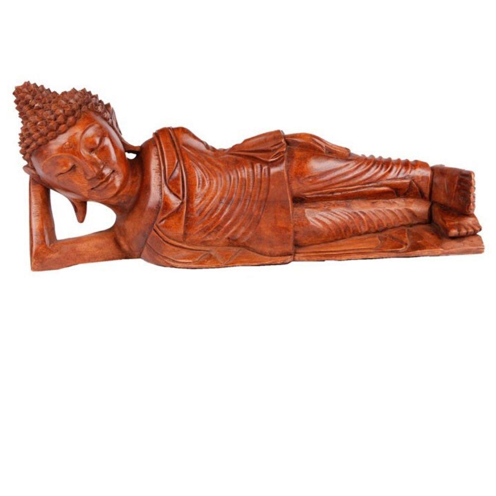 Estátua de Buda Deitado Entalhado 40 Cm