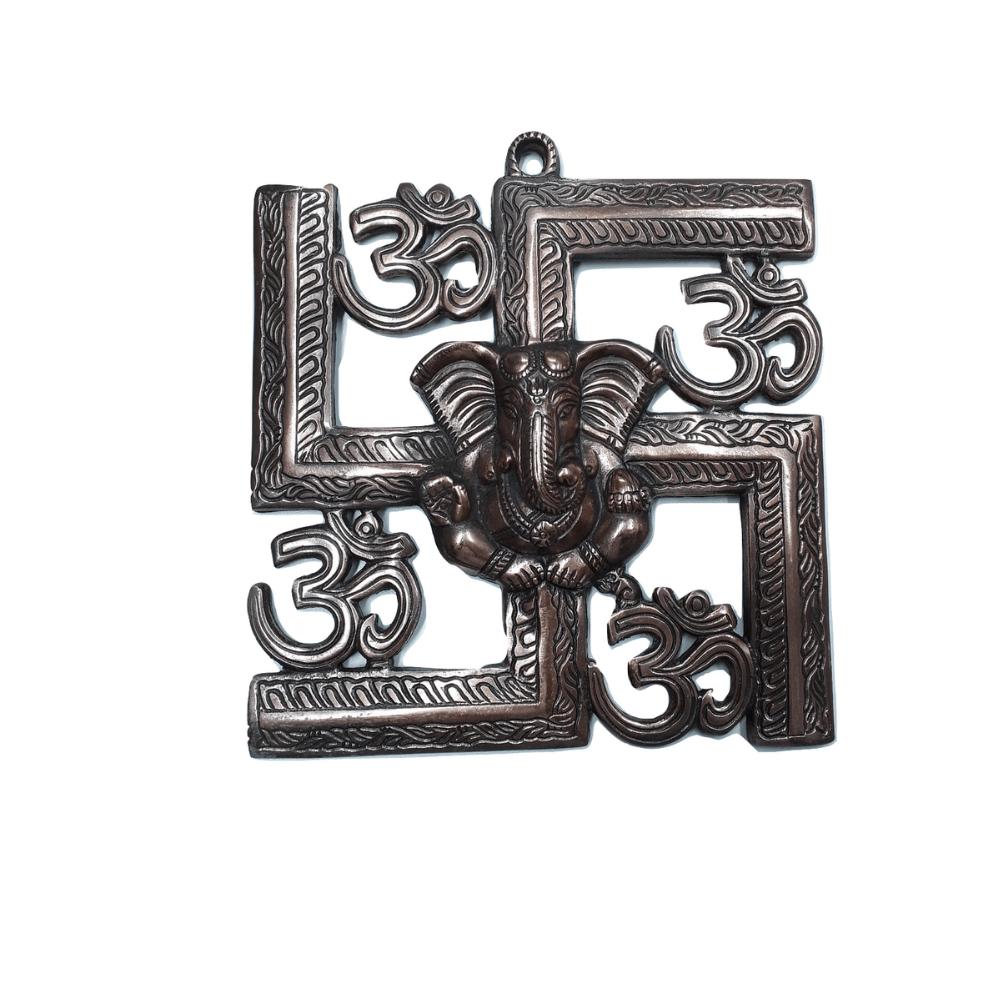 Estátua de Ganesha Metal Cobre 23 Cm