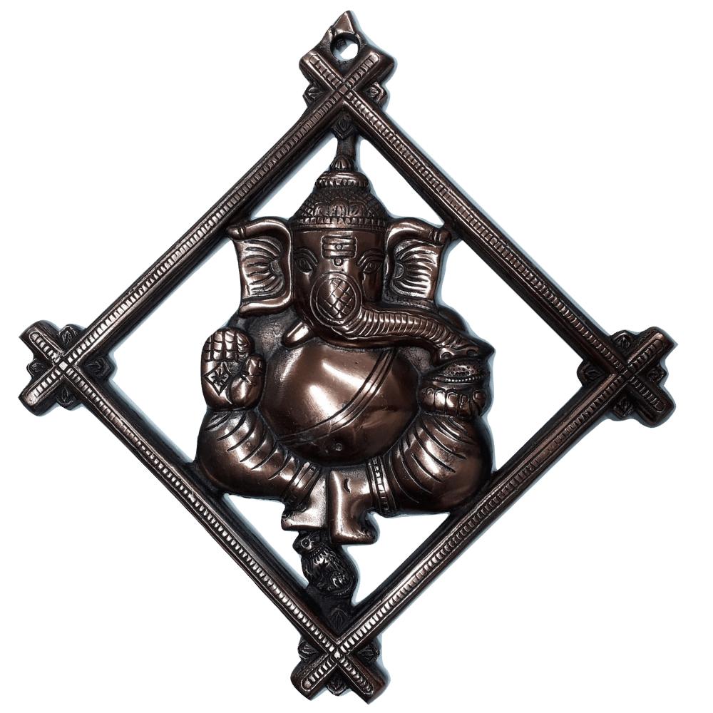 Estátua de Ganesha Metal Cobre 30 Cm