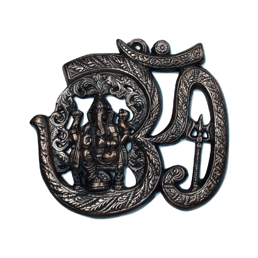 Estátua de Ganesha OM Metal Cobre 20 Cm