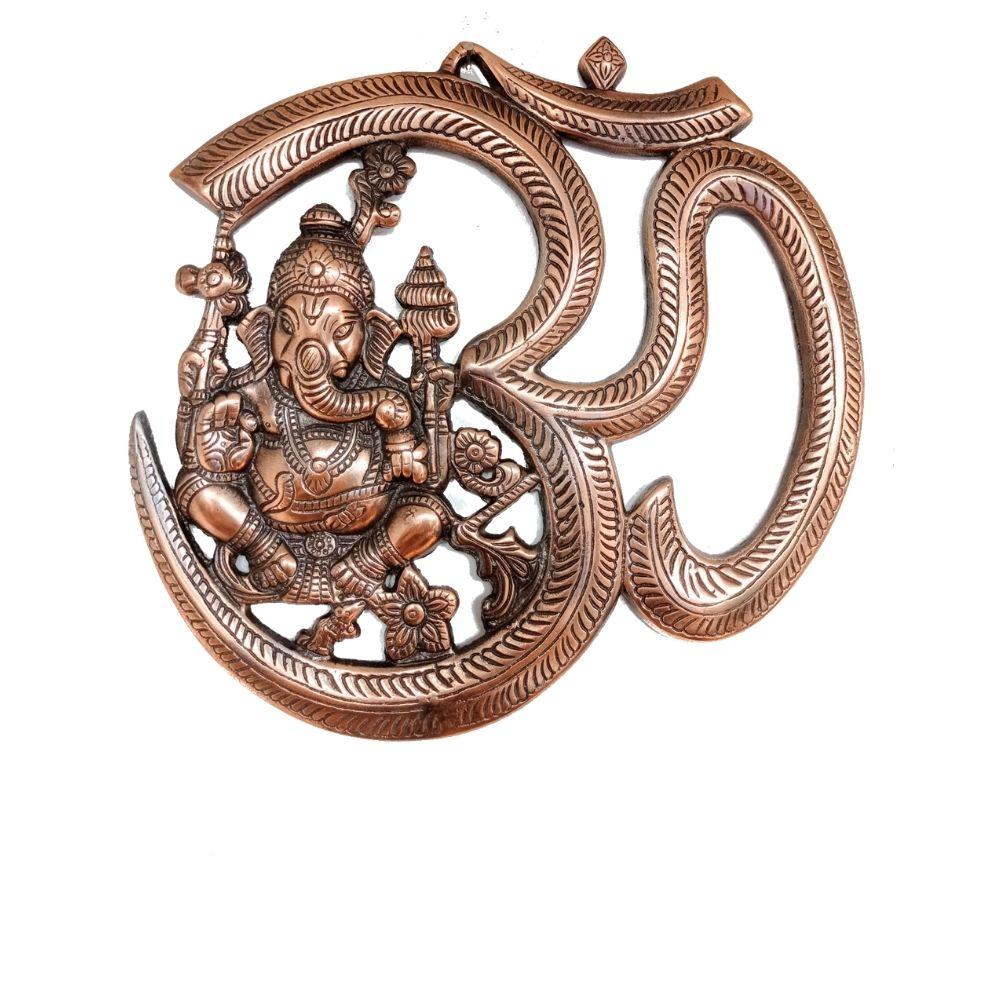 Estátua de Ganesha OM Metal Cobre 26 Cm