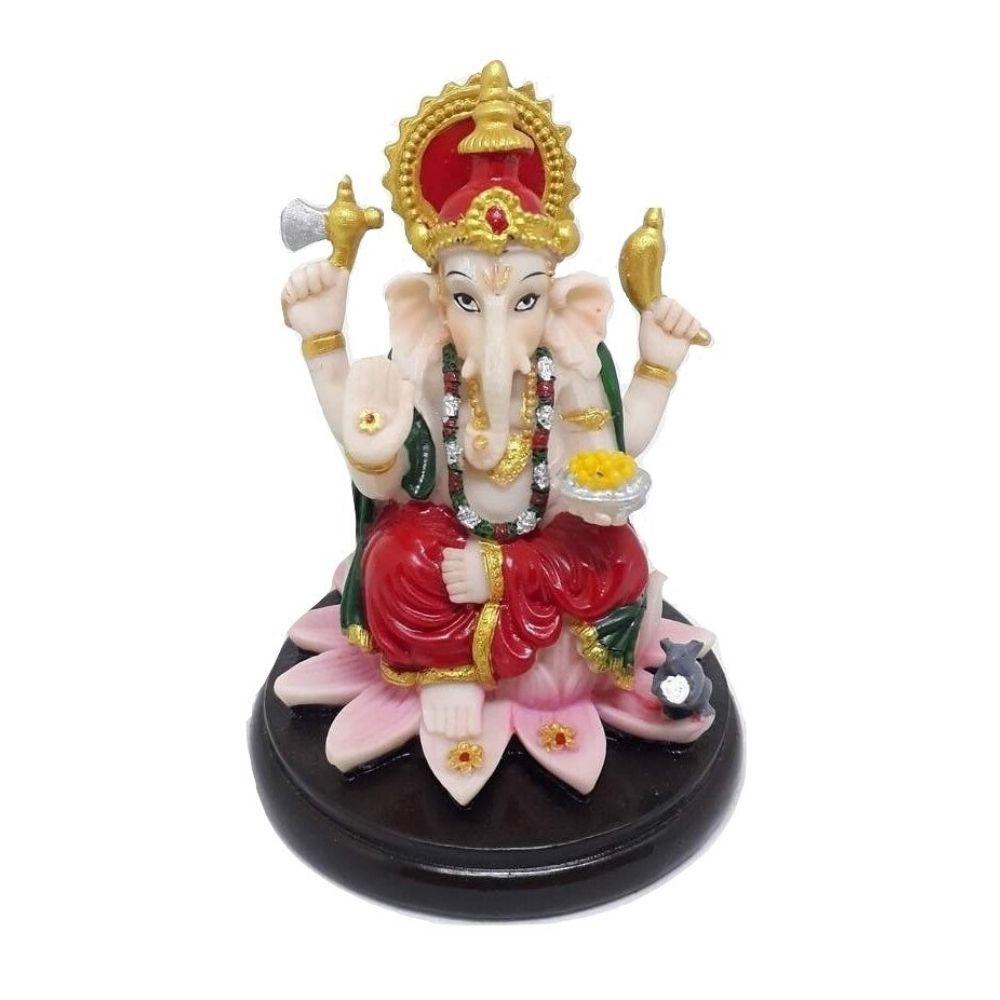 Estátua de Ganesha Resina Branca e Dourada 10 Cm