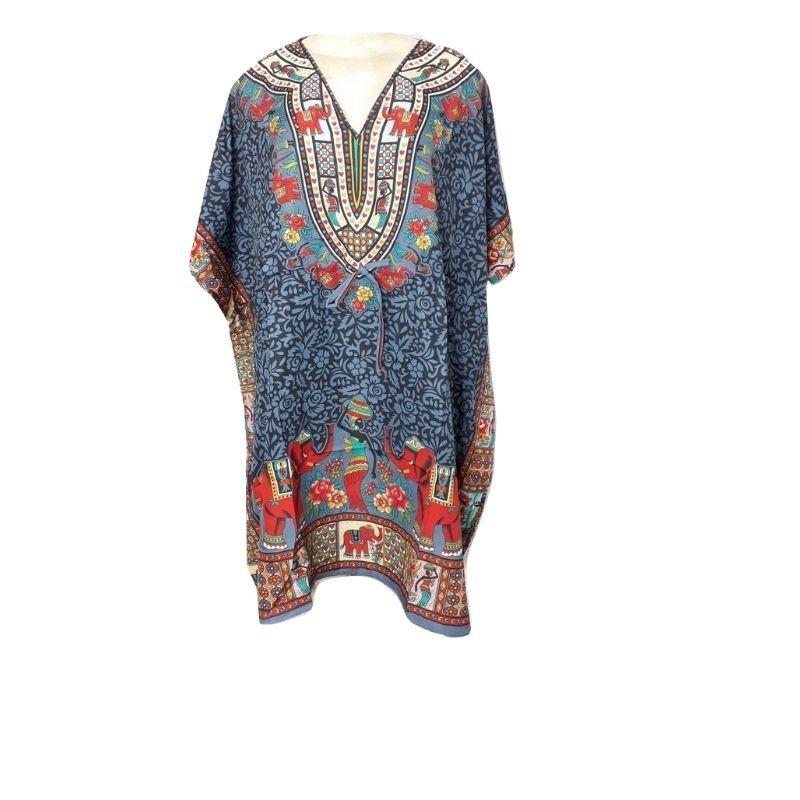 Kaftan Plus Size Vestido Indiano Cinza