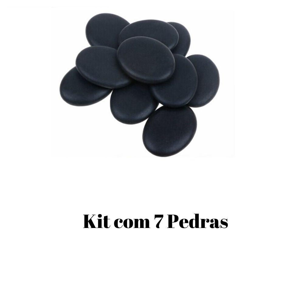 Kit De Pedras Quentes Pretas P/ Massagens 7 Peças Basalto