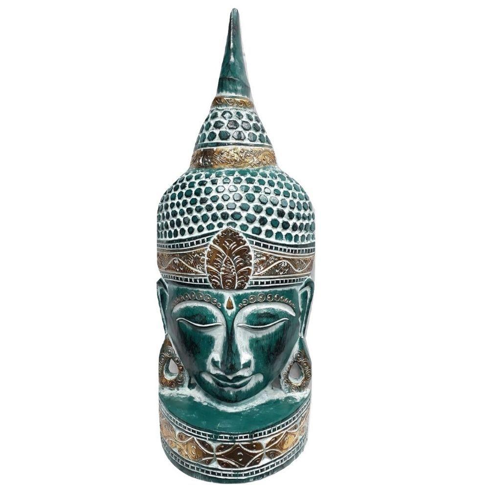 Mascara de Buda Entalhada na Madeira Verde Musgo 50 Cm
