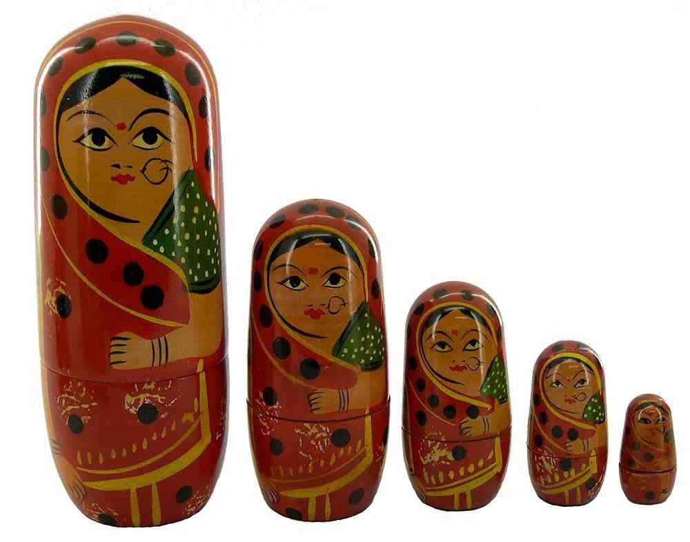 Matrioska- Conjunto Bonecas De Madeira- Boneca Russa- Vermelha