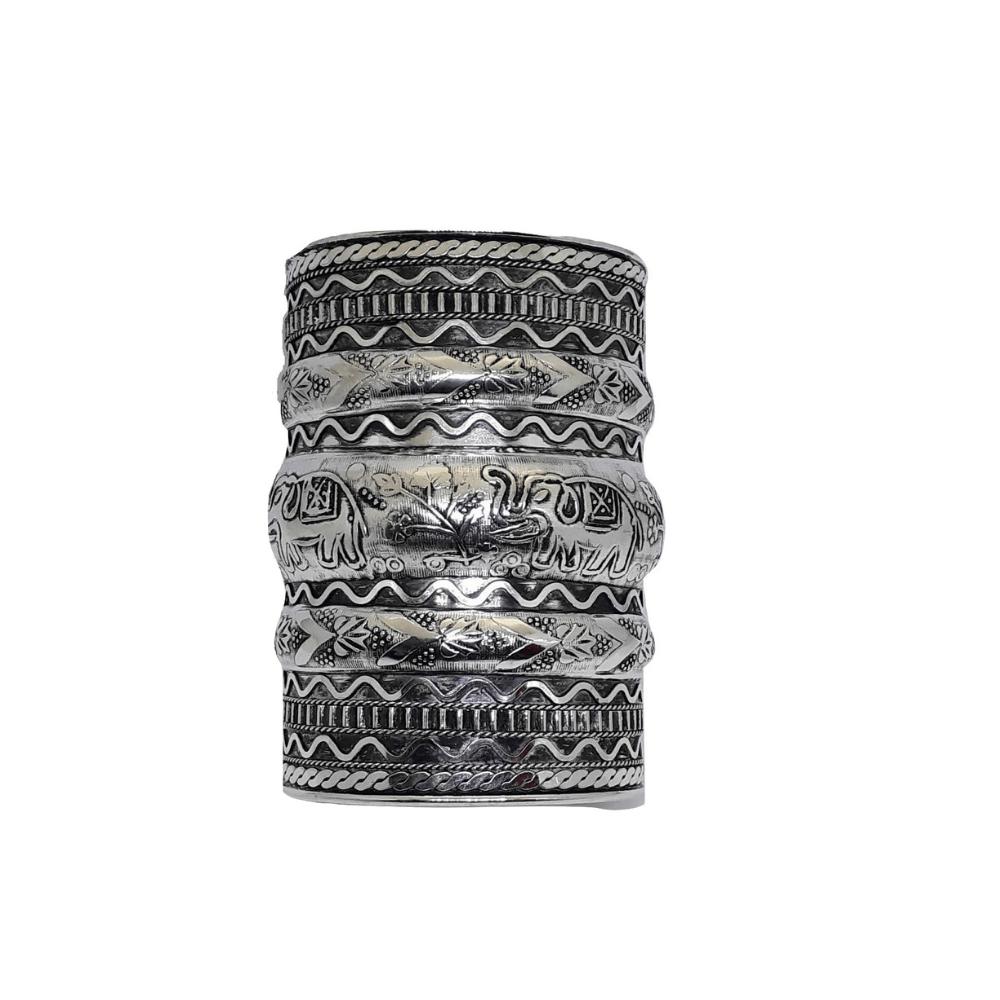 Max Bracelete Indiano Metal Prateado Envelhecido