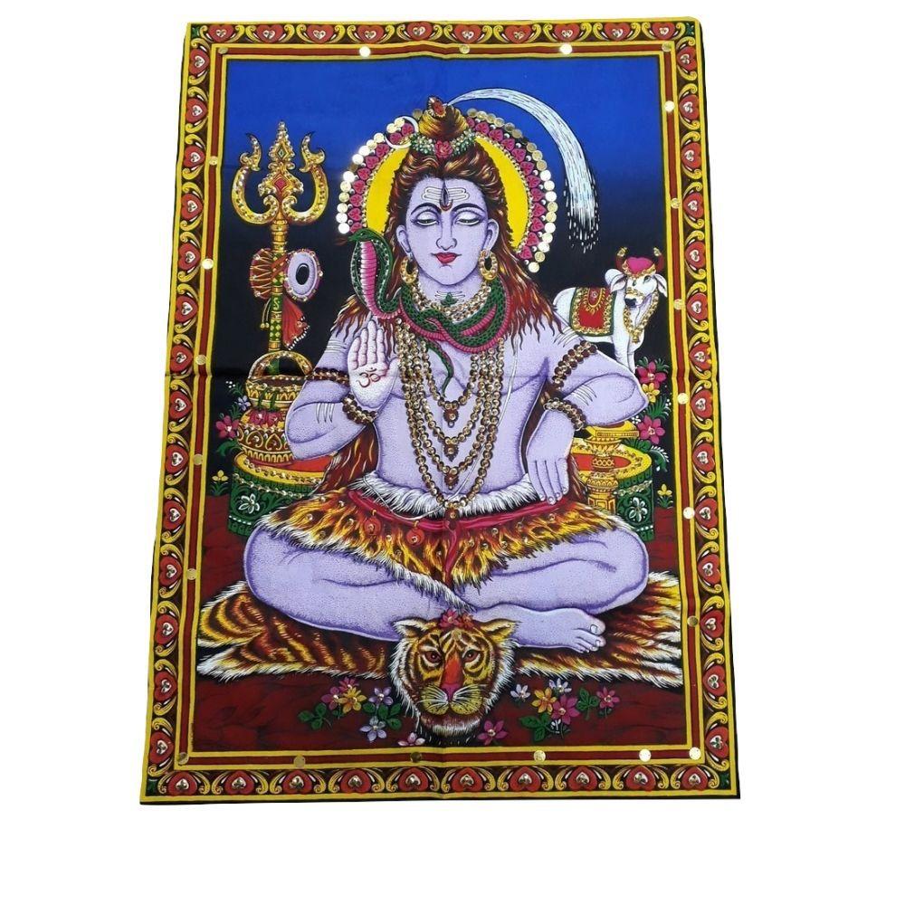Painel de Tecido Shiva Mahadeva de Bronze 54x76 Cm