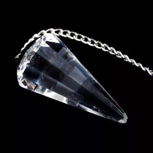 Pêndulo De Pedra Cristal De Quartzo Facetado P/ Radiestesia
