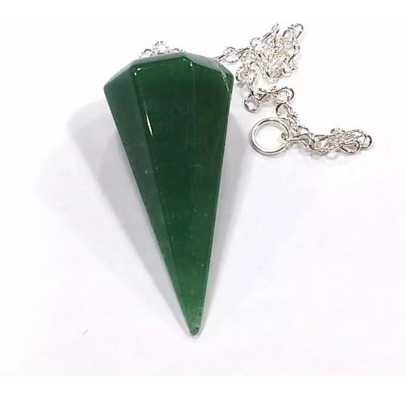 Pêndulo De Pedra Quartzo Verde Natural Facetado Radiestesia