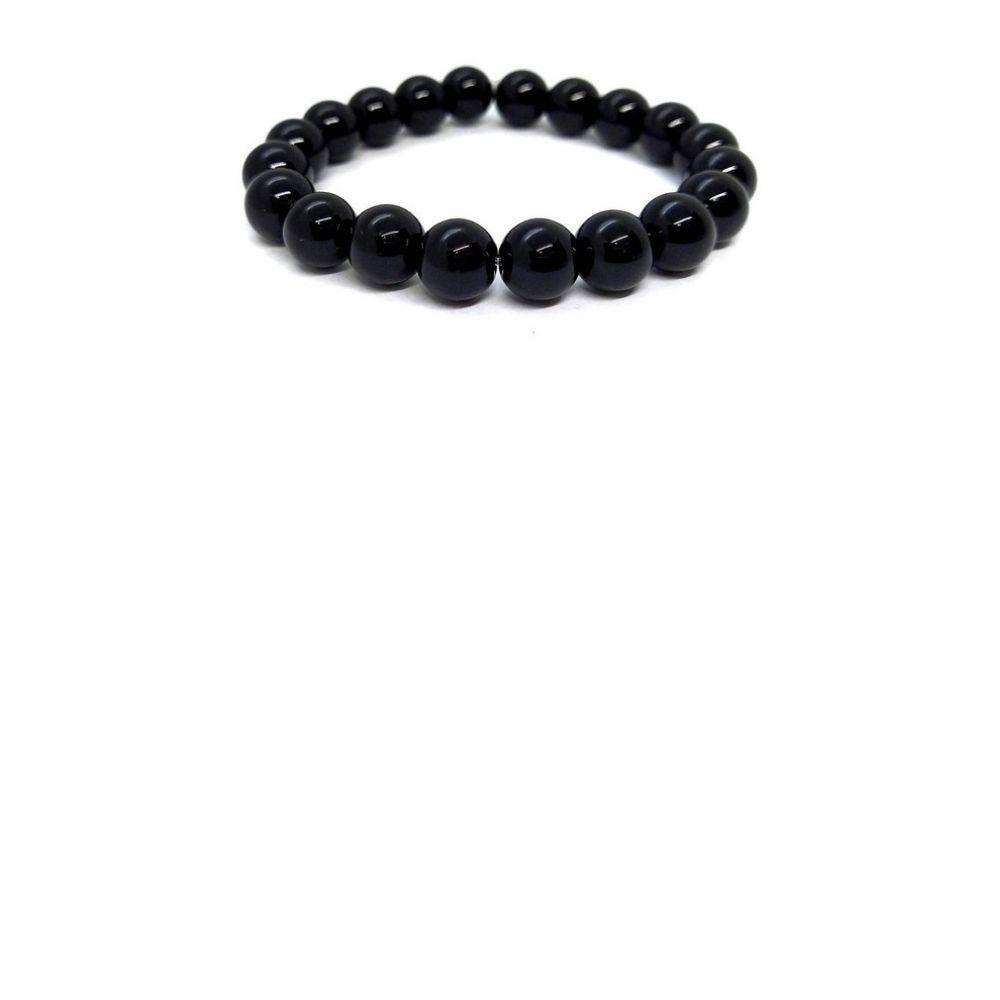Pulseira De Esferas De Obsidiana Negra Pedra De Proteção