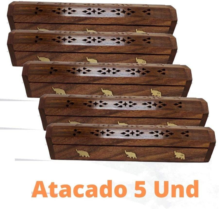 Revenda Atacado 05 Incensários De Madeira Indiano Decoração