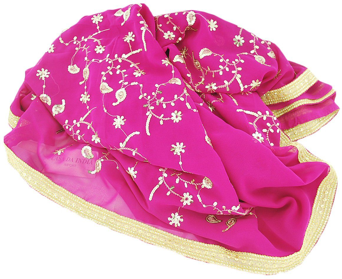 Saree Indiano Bordado Crepe Georgette