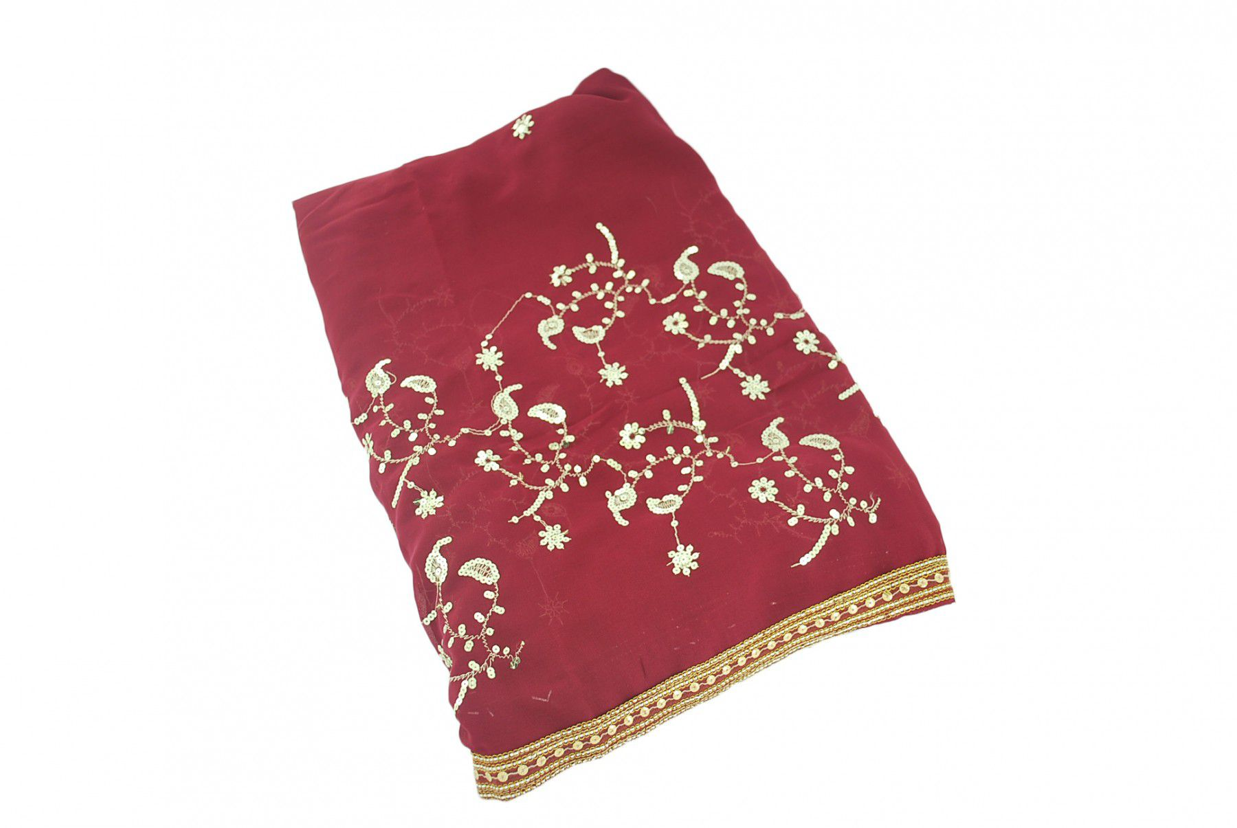 Saree Indiano Bordado Crepe Georgette 5 Metros