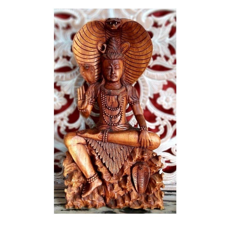 Shiva Entalhado na Madeira 86 Cm