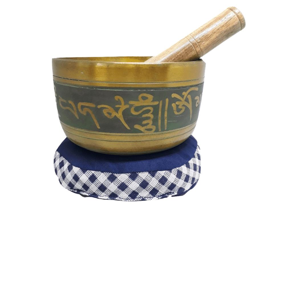 Tigela Tibetana Para Meditar 15 Cm + Almofada e Incenso Nag Champa