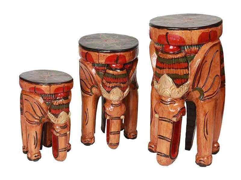Trio de Bancos de Elefantes Madeira