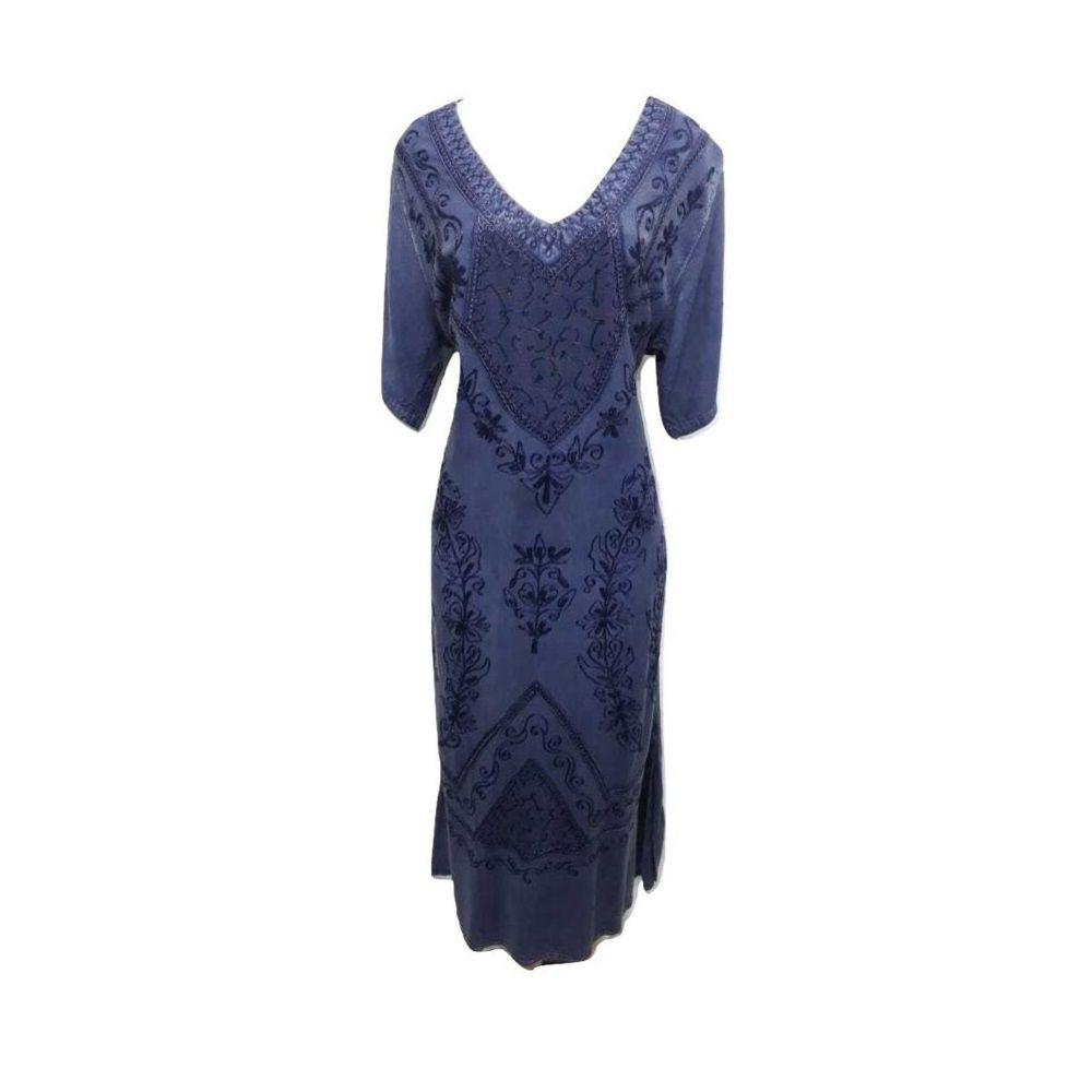 Vestido Indiano Azul Marinho Plus Size