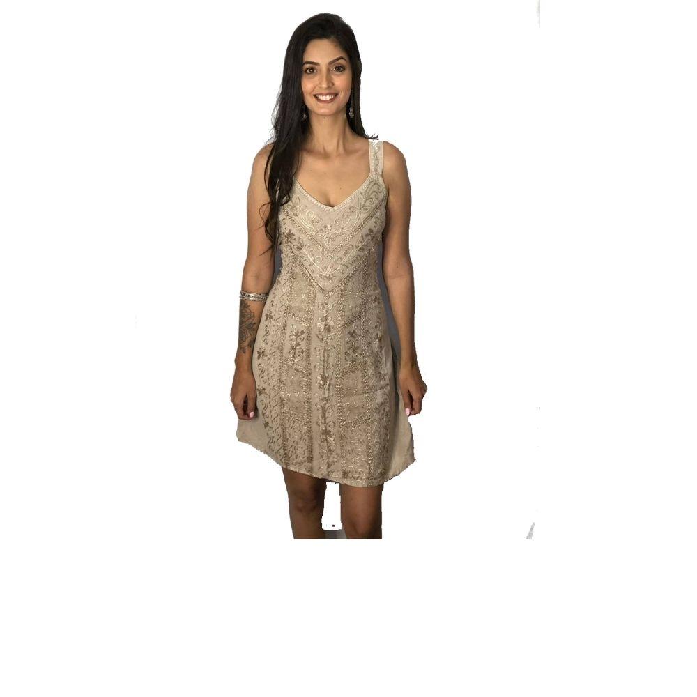 Vestido Indiano Curto Alcinha Bordado