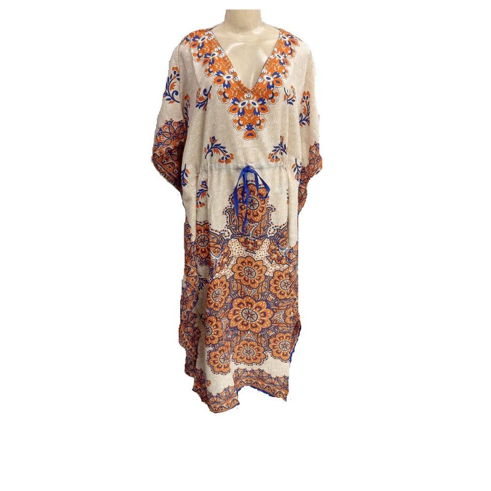 Vestido Indiano Kaftan Estampa Laranja