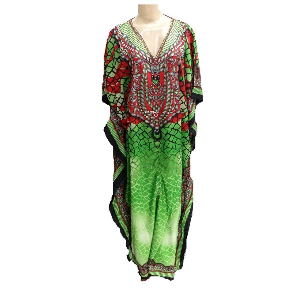 Vestido Indiano Kaftan Estampa Verde