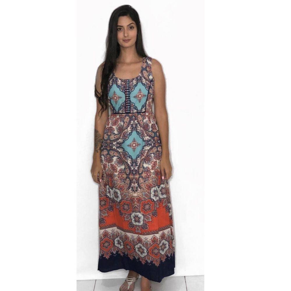 Vestido Longo Estampado Indiano
