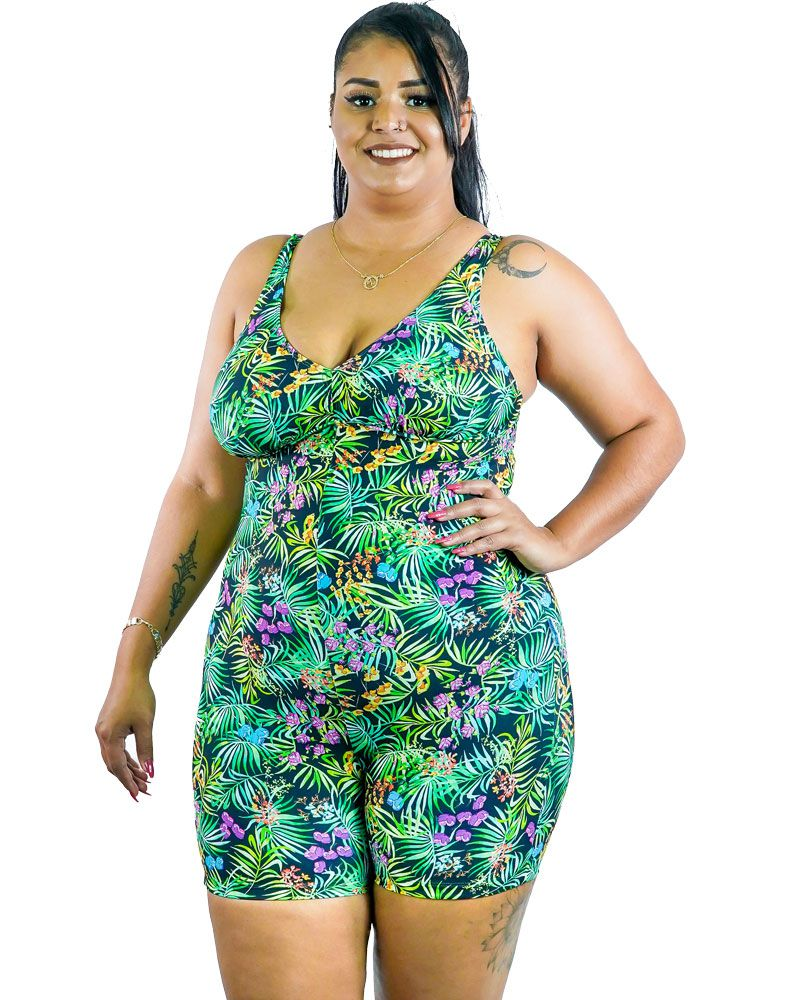 Macaquinho Plus Size AcQuaLua Estampado