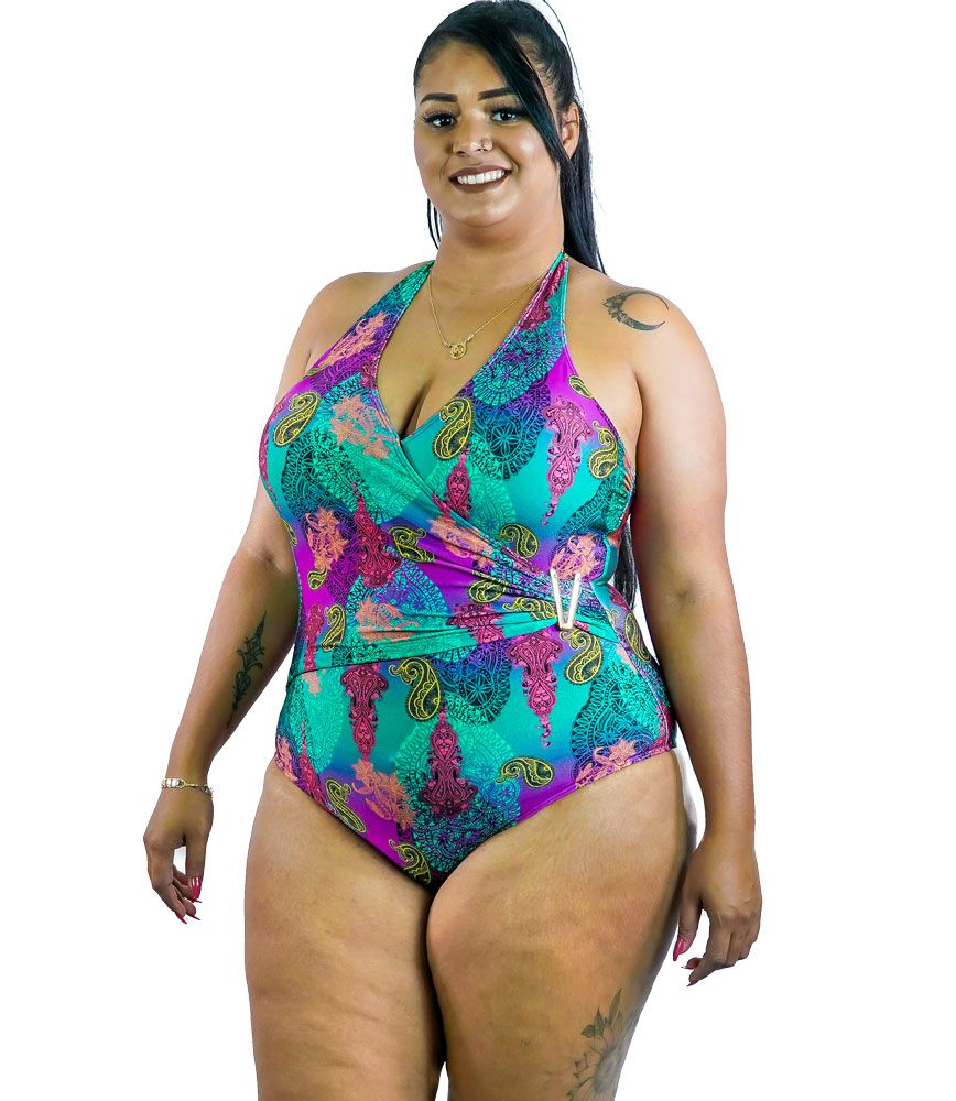 Maiô Transpasse Iris Plus Size AcQuaLua