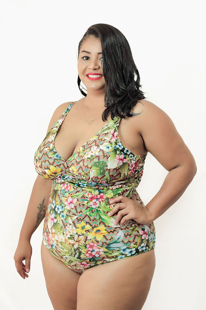 Maiô com Bojo Estampado Plus Size AcQuaLua