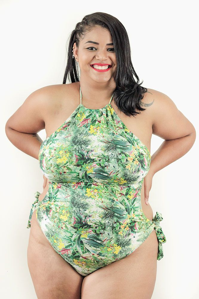 Maiô Cropped com Bojo Estampado Plus Size AcQuaLua