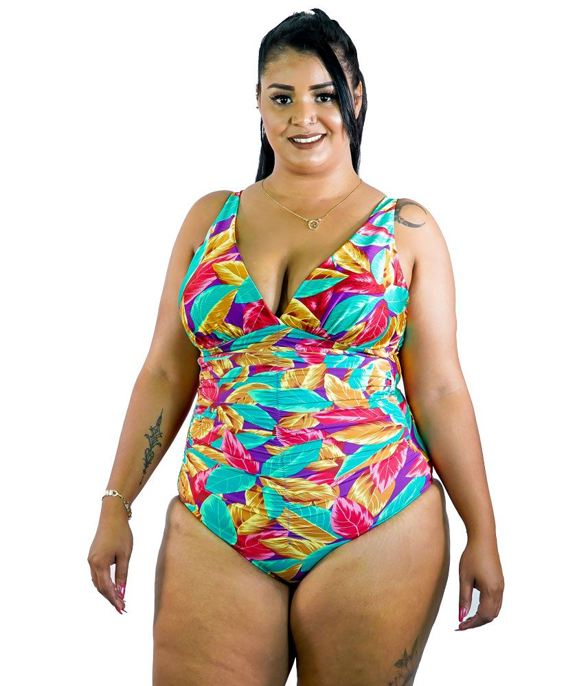 Maiô Drapeado com Bojo Plus Size - AcQuaLua