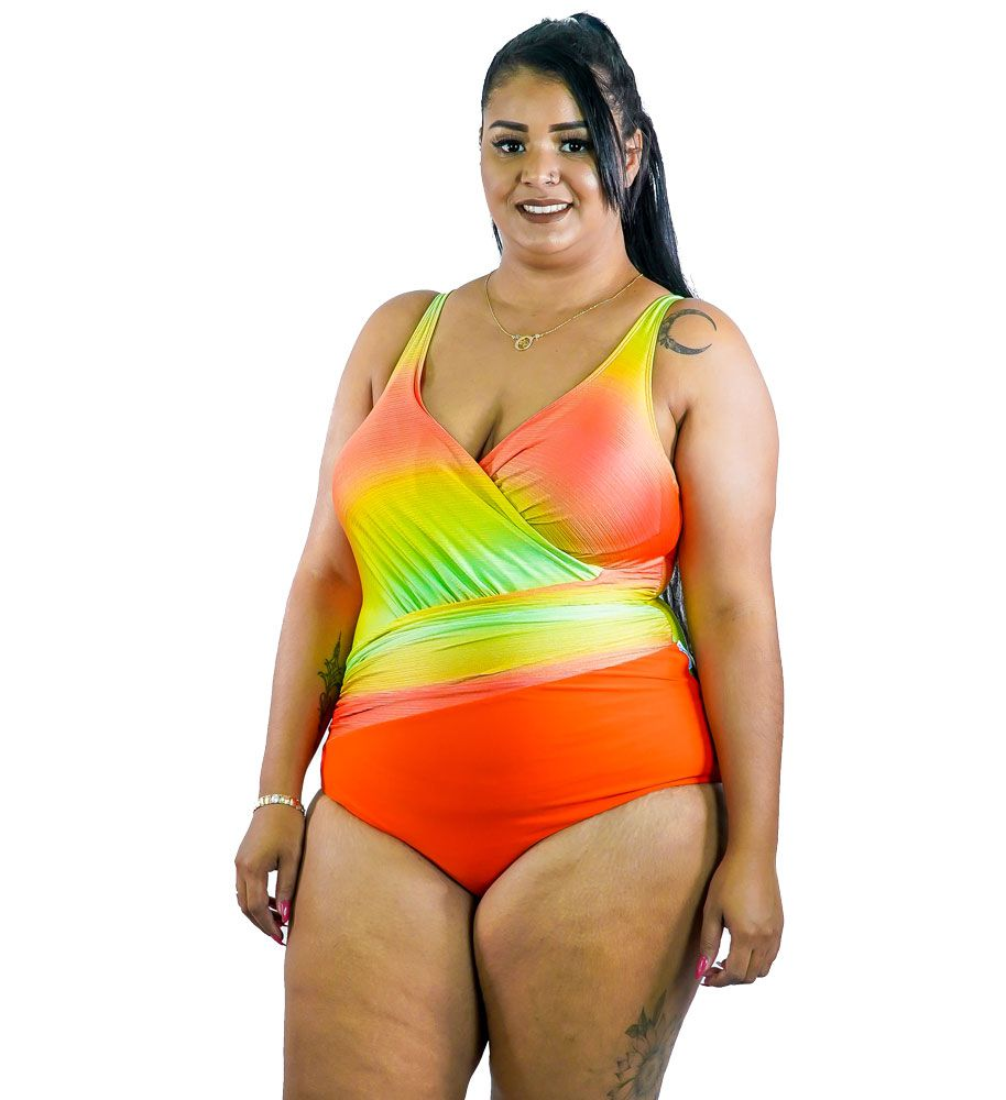 Maiô Drapeado Degradê Plus Size AcQuaLua