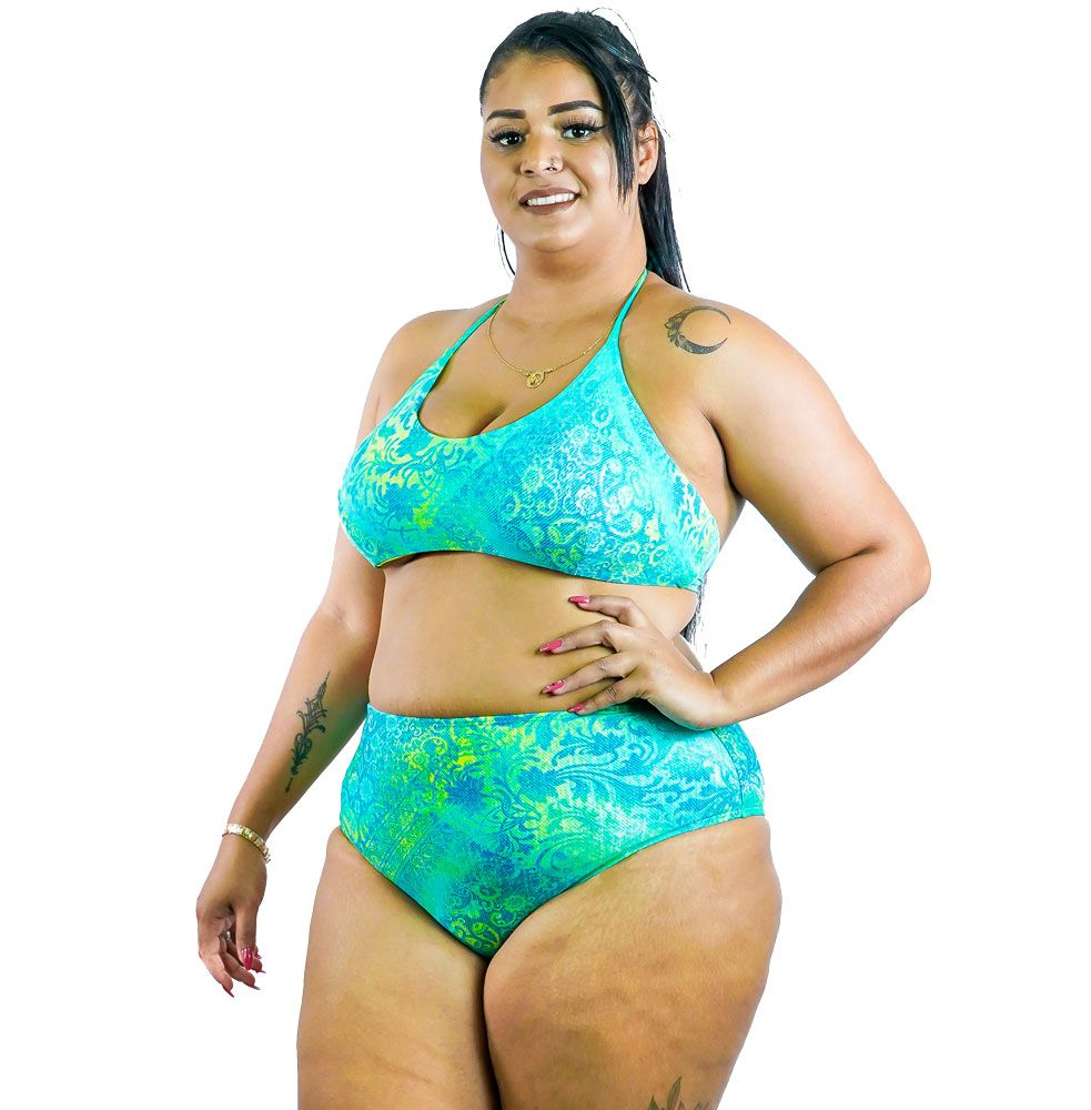 Sunquini Dupla Face com Calça Hot Pant Plus Size AcQuaLua