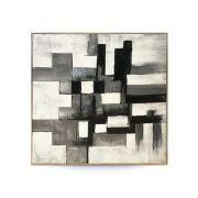 Quadro Decor Abstrato 3 Tons Cinza