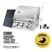 Churrasqueira à Gás Embutir Mikazza Pro 3 Combo + Chapa + Espeto + Boné