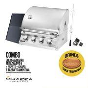 Churrasqueira à Gás Embutir Mikazza Pro 4 Combo + Chapa + Espeto Giratório + Tramontina