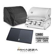 Churrasqueira à Gás Mikazza Pro 3 Bancada Combo + Chapa de Ferro Fundido + Capa Protetora