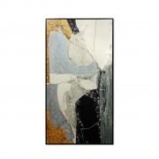 Quadro Decor Abstrato Retalhos Cinza e Dourado