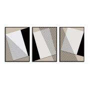 Quadro Decor Kit Geometria em Preto e Branco