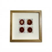 Quadro Decor Minimalista Quarteto em Pedras Ágata Vermelho