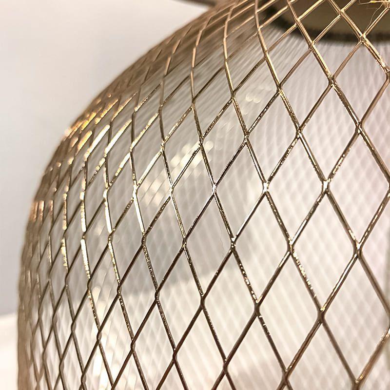 Abajur Metal Tela Trançada Golden